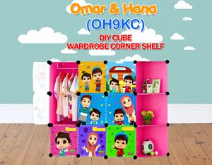 Omar & Hana PINK 9C DIY WARDROBE w CORNER RACK (OH9CK)