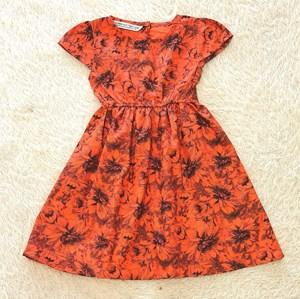 [ 2Y, 5Y] Baby and Kids Dress FLOWER ORANGE Brand KF