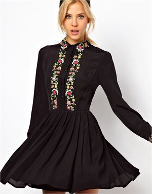 Shirt Dress With Floral Embroidery