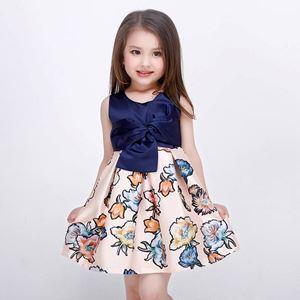 Kids Gown Dark Blue Flower