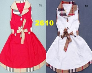 2610  BURBERRY DRESS ( SIZE 2Y-7Y )  RED / WHITE