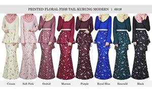 681# PRINTED FLORAL FISHTAIL KURUNG MODERN