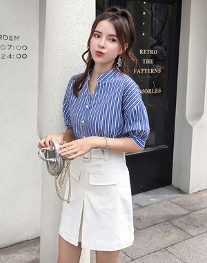 Fashion Suit ( Blue Blouse + White Skirts)