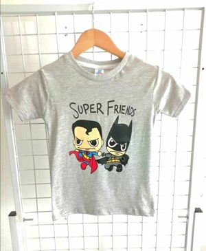 T-Shirt Short Sleeve Superman Batman Super Friends Grey: Size 7y-12y (7 - 12 tahun) RS