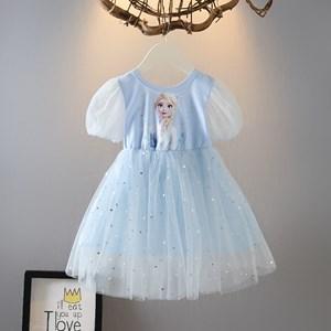 BLING BLING FROZEN  DRESS 1   - BLUE  ( SIZE 90-130 )