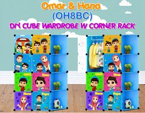 Omar & Hana BLUE 8C DIY WARDROBE w CORNER RACK (OH8BC)