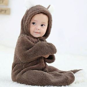 WINTER COTTON BABY ROMPER LONG SLEEVE HOODED INFANT JUMPSUIT