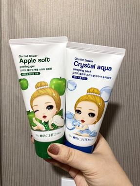 Ready Stock *Orchid Crystal Aqua Sleeping Pack +  Flower Apple Soft Peeling Gel  蒂欧丝爆水睡眠面膜 + 苹果软皮去角质凝胶 120ml