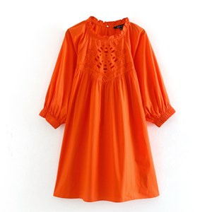 BRIGHT ORANGE EMBROIDERED TOP