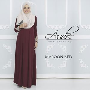Audre Lacey Dress : Maroon Red