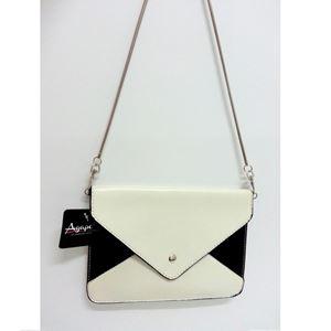 Tri-Color Envelope Clutch - Black & White