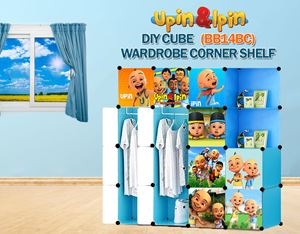 NEW Upin & Ipin BLUE 14C DIY Wardrobe with Corner Shelf (BB14BC)