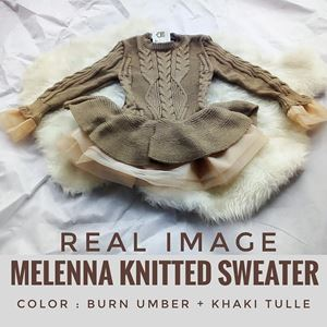 BURNT UMBER MELENNA KNITTED SWEATER WITH TULLE SKIRTING