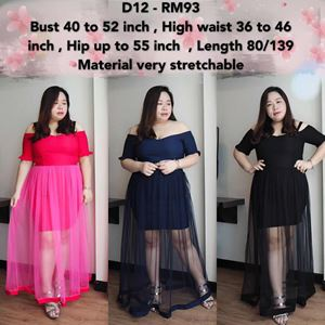D12  Ready stock* Bust 40 to 52inch/101-132cm *