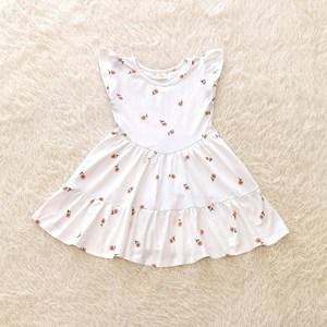 Princess Dress V2 : PEACH DAISIES, size 2-4