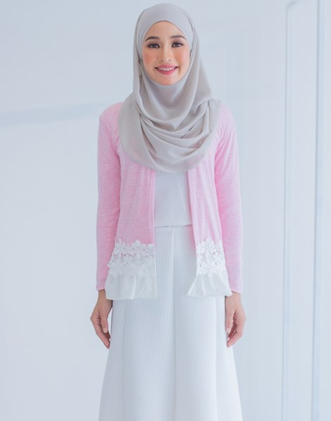 LUCY LACE CARDIGAN IN PINK