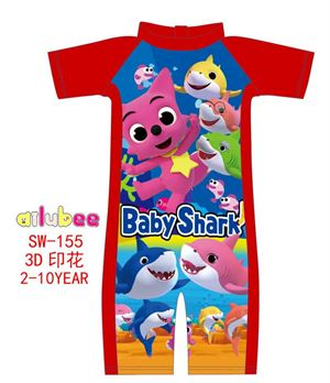@  SW155 AILUBEE BB SHARK RED SWIMMING SUIT ( SZ 5-6 & 7-8y )
