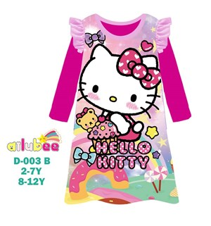 @  AILUBEE  HELLO KITTY  DRESS  SLEEPWEAR ( D003-B  ) SZ  2Y - 12Y