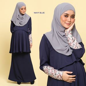 Peplum Eleanor Brocade : Navy Blue