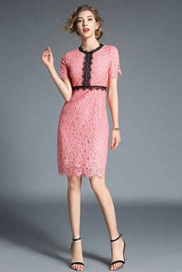 Hollow Stitching Lace Dress