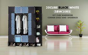 20Cube Black White DIY Cube w Corner Rack & Shoerack (SBW20RS)
