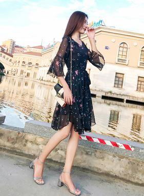 Star Print Chiffon Dress (Large Size)