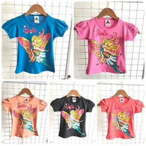 T-Shirt Girl Short Sleeve Barbie: Size 2-8 (1 - 6 tahun)