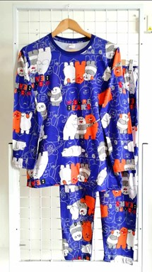 Pyjamas BARE BEAR BLUE : Size DEWASA XL, 3XL (MF)