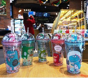 Creative Double Layer Sequins Transparent Straw Cup