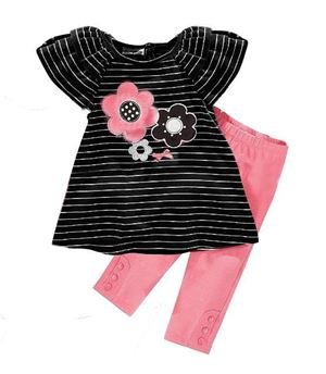 Girl Set - Flower Black Stripe