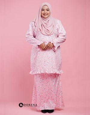 Kurung Cotton Aisya (Pink)