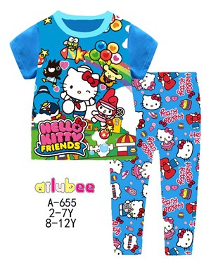 Blue Hello Kitty Short Sleeves Pyjamas