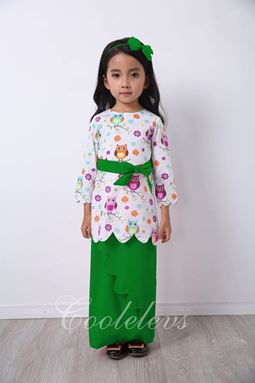 BABY OWL BAJU KURUNG + HAIRBAND SET E - GREEN  ( SZ 1Y-8Y )