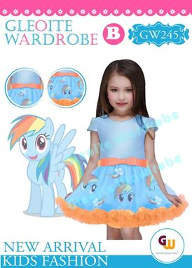 @  GW 245 DRESS  { B ~ PONY BLUE }  ( SZ 2Y - 13Y )