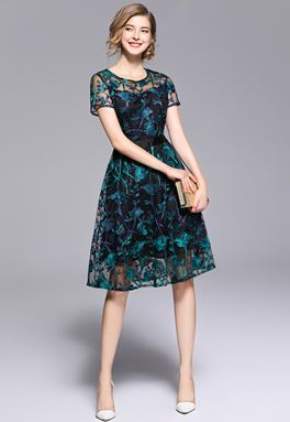 Embroidery Slim Flower Lace Dress