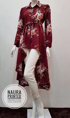 Naura Printed Fishtail Maroon