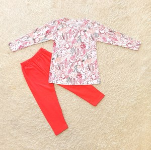[SIZE 3/4Y - 7/8Y] Girl Set Long Sleeve : PASTEL TROPICAL WHITE WITH RED PANT  (3y - 8y) SPG
