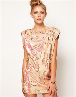 Lashes Of London Oversized Tunic Dress in Textured Sequin