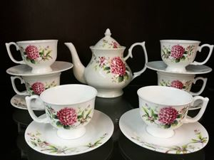 14PCS TEA SET F44 (RUBY DAHLIA)