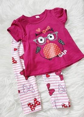 Girl Set Fushia Owl With Ribbon Stripe Pant (2y - 5y)