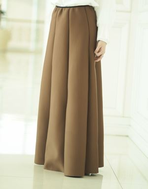 KHLOE STRIPED SKIRT IN BROWN