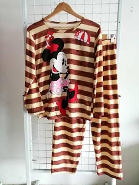 Pyjamas Dewasa Brown Beige Stripe Minnie