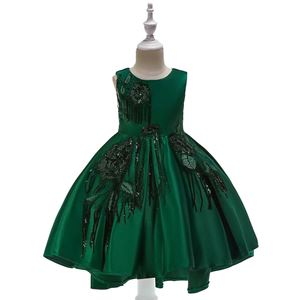 @  T5035 Girls Sequins Princess DresS - GREEN    (  SZ 100-150 )