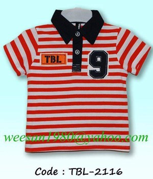 @  TBL-2116   STRIPE RED TEE  (  SIZE 90-110 )