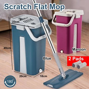 Scratch Mop 2-In-1 Hands Free Scraping Scrubbing Cleaning / Flat Mop Self Wash Squeeze Wet & Dry Scratch Mop Wit Bucket