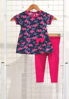 [SIZE 12/18M - 30/36M] Baby Girl Set : BUTTERFLY BLUE WITH HOT PINK PANT (9m - 36m) SPG