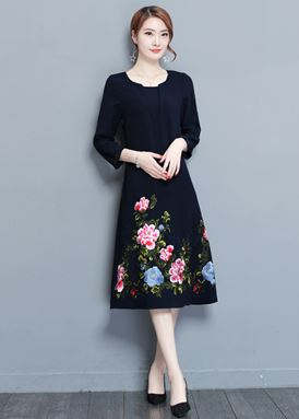 Flower Embroidery Loose Dress