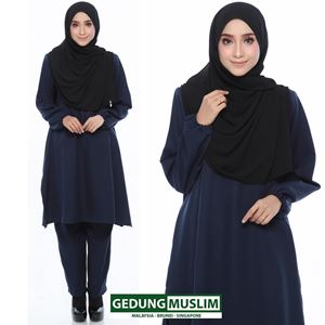 JUBAH SELUAR RAUDAH - BLUE BLACK  COLOR