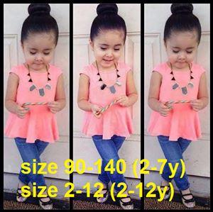 SP2014-001(peach) COMEL GIRL 2pcs SET (peach peplum + jegging) (size 2-)