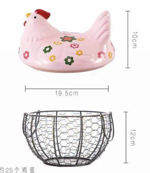 CERAMIC CHICKEN EGG BASKET - C